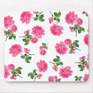 Floral pattern: Pink roses Mouse Pad