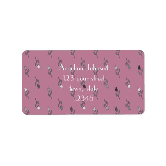 Floral Pattern Purple Background Address Label