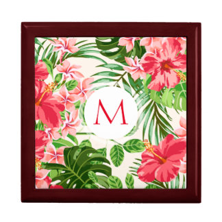 Floral Pattern Red Hibiscus Monogram Gift Box 1