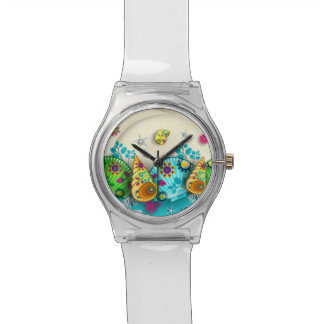 Floral pattern shells watch