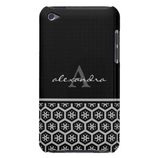 Floral Pattern Silver Name - Monogram iPod Touch Case