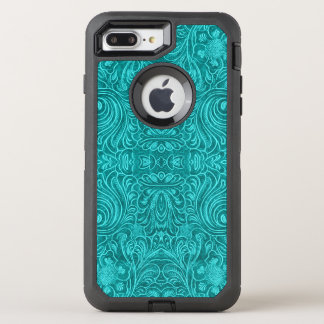 Floral Pattern Teal-Green Suede Leather Texture OtterBox Defender iPhone 7 Plus Case