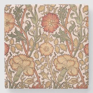 Floral Pattern Vintage Pink Designer Fabric Stone Beverage Coaster
