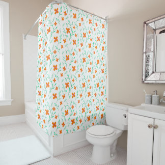 Floral pattern White Shower Curtain