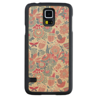 Floral pattern with bird and butterfly carved maple galaxy s5 case