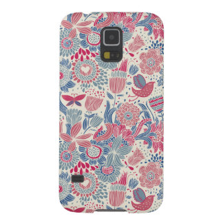 Floral pattern with bird and butterfly galaxy s5 covers