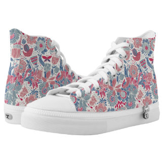 Floral pattern with bird and butterfly high tops