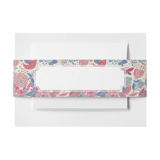 Floral pattern with bird and butterfly invitation belly band
