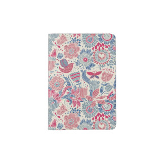 Floral pattern with bird and butterfly passport holder