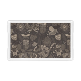 Floral pattern with cartoon birds 2 acrylic tray