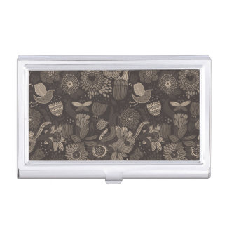 Floral pattern with cartoon birds 2 business card holder