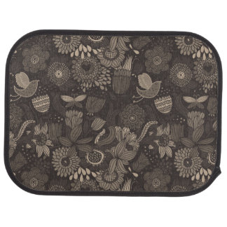 Floral pattern with cartoon birds 2 car mat