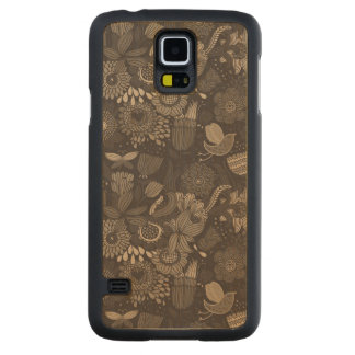 Floral pattern with cartoon birds 2 carved maple galaxy s5 case