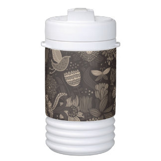 Floral pattern with cartoon birds 2 cooler