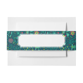 Floral pattern with cartoon birds 2 invitation belly band