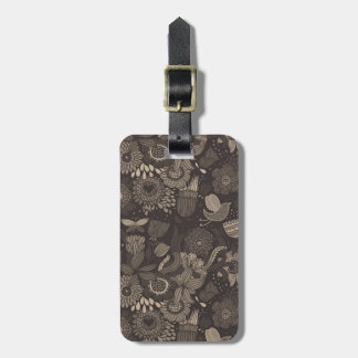 Floral pattern with cartoon birds 2 luggage tag