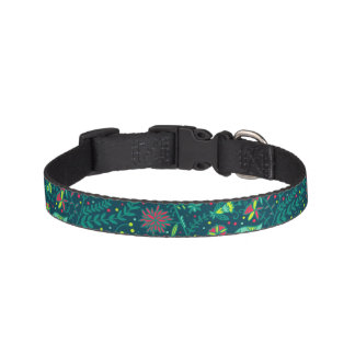 Floral pattern with cartoon birds 2 pet collar