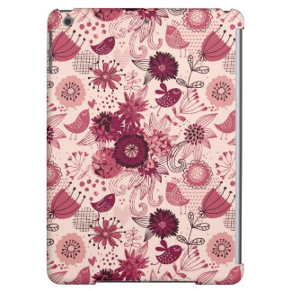 Floral pattern with cartoon birds cover for iPad air