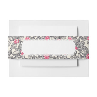 Floral pattern with cartoon birds invitation belly band