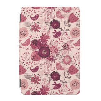 Floral pattern with cartoon birds iPad mini cover