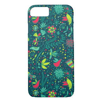 Floral pattern with cartoon birds iPhone 8/7 case