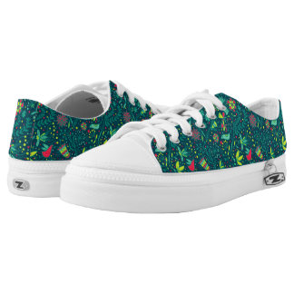 Floral pattern with cartoon birds low tops