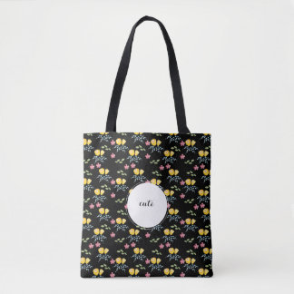 Floral Pattern with custom name tag Tote Bag