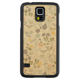 Floral Pattern with cute birds Carved Maple Galaxy S5 Case
