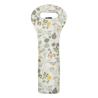 Floral Pattern with cute birds Wine Bag