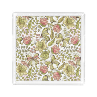 floral pattern with flowers and butterflies acrylic tray