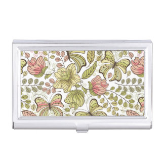 floral pattern with flowers and butterflies business card holder