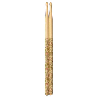 floral pattern with flowers and butterflies drumsticks