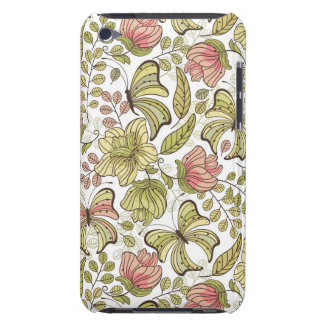 floral pattern with flowers and butterflies iPod touch case