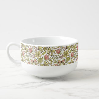 floral pattern with flowers and butterflies soup mug
