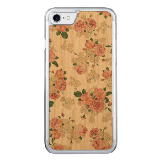 Floral pattern wooden iphone carved iPhone 7 case
