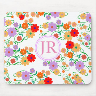 Floral Patterned Monogram Mousemat any colour