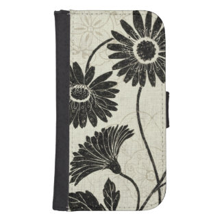 Floral Patterns in Black and White Samsung S4 Wallet Case
