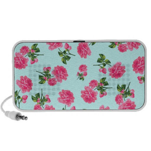 Floral patterns: Pink flowers on blue Laptop Speaker
