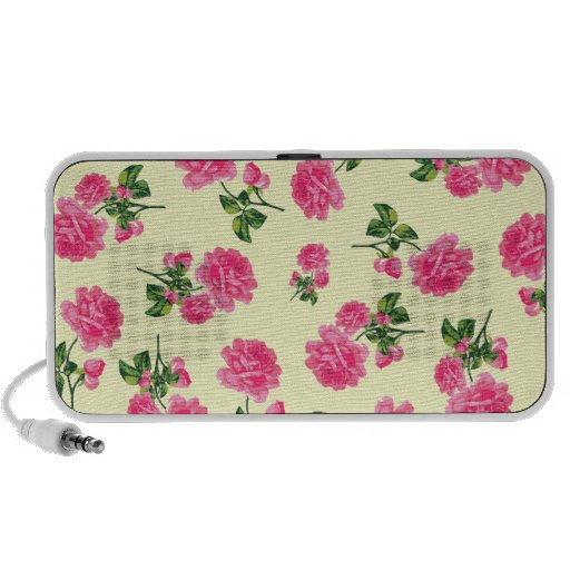 Floral patterns: Pink flowers on cream PC Speakers