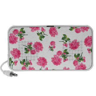 Floral patterns: Pink flowers on white Travelling Speakers