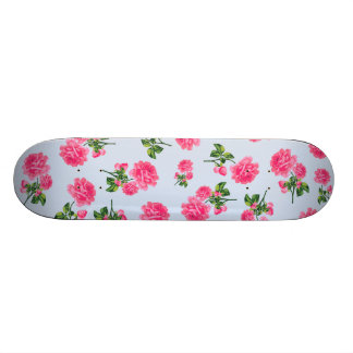 Floral patterns: pink roses on baby blue skate board deck