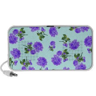 Floral patterns Purple flowers on blue Speaker
