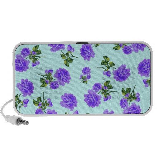 Floral patterns: Purple flowers on blue Speaker