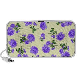 Floral patterns: Purple flowers on cream Mini Speakers