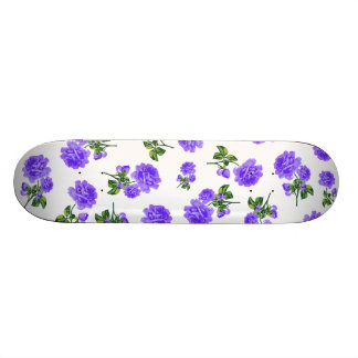 Floral patterns: purple flowers on white skateboard deck