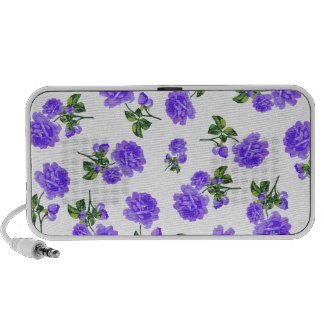 Floral patterns: Purple flowers on white Speakers