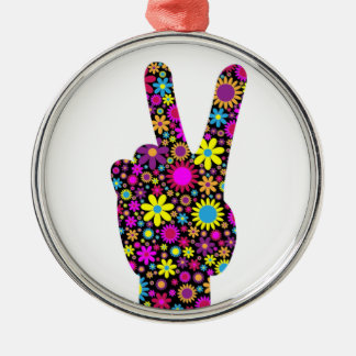 FLORAL PEACE HAND SIGN Silver-Colored ROUND DECORATION