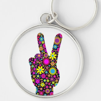 FLORAL PEACE HAND SIGN Silver-Colored ROUND KEY RING