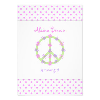 Floral Peace Sign Party Invitation