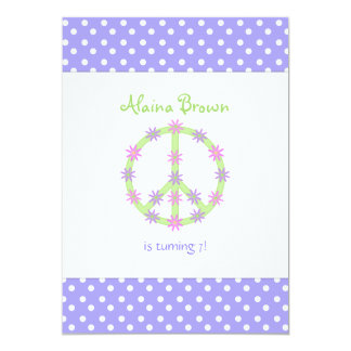 """Floral Peace Sign Party Invitation 5"""" X 7"""" Invitation Card"""